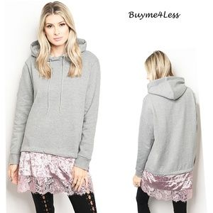 Gray Pink Active Sweater Hoodie Tunic Sweatshirt